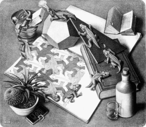 """Reptiles"", de l'artiste Escher. Pas simple de s'échapper quand on a que deux dimensions..."